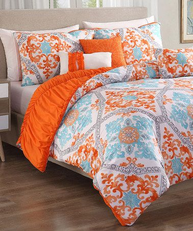 Another great find on #zulily! Orange & Aqua Maddy Six-Piece Bedding Set #zulilyfinds