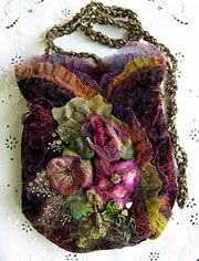 Ribbon Embroidery Bag by Robyn Alexander of Colour Streams (Australia) ~ Rhapsody In Velvet - Plum Wine
