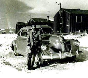 Frank Hirahara with his camera at the Heart Mountain Internment Camp (Wyoming) during World War II. Photo by George Hirahara