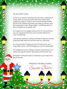 Declarative image inside free printable letter from santa