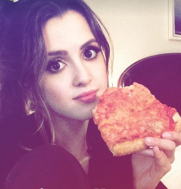 Laura with some pizza