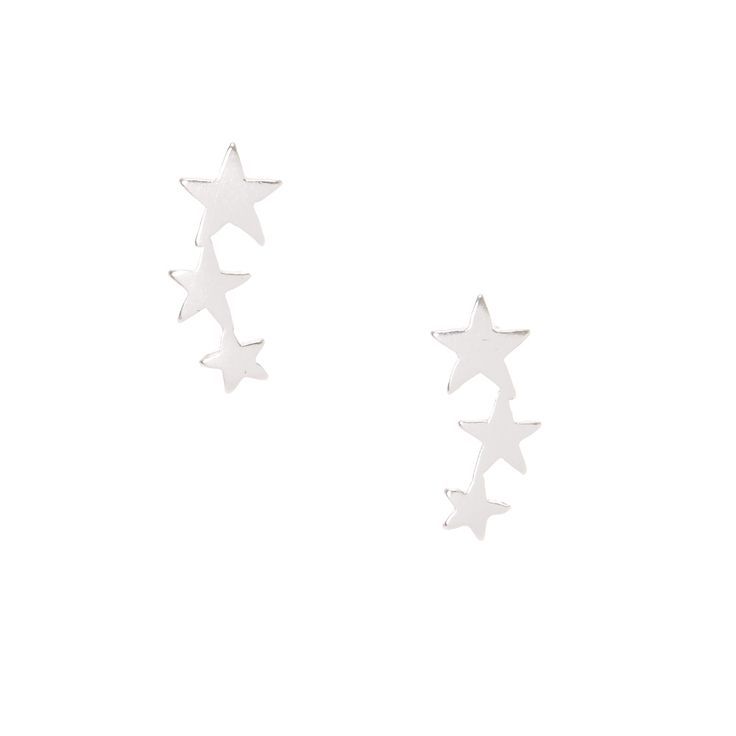 Sterling Silver Star Lineup Earrings