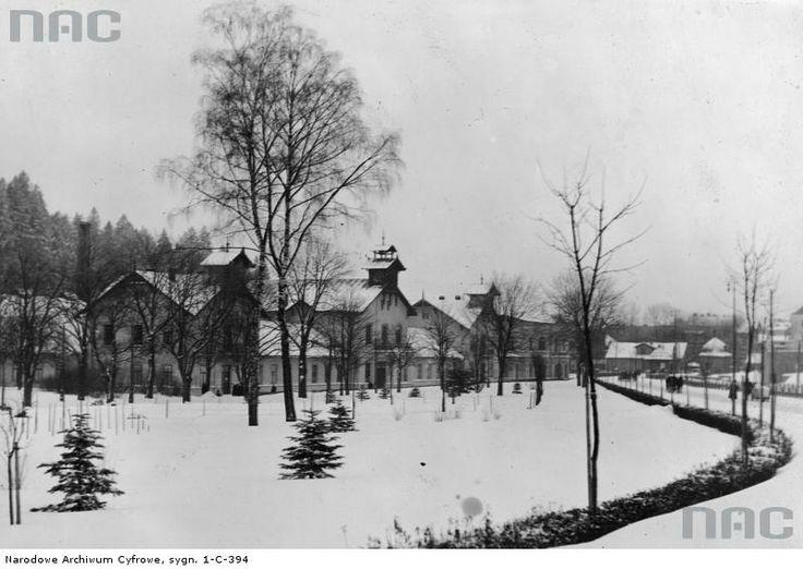 Widok na Stare Łazienki w porze zimowej.