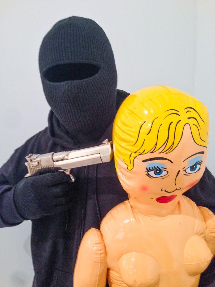 "Mark Jenkins ""Saving Judy""  mixed media sculpture"