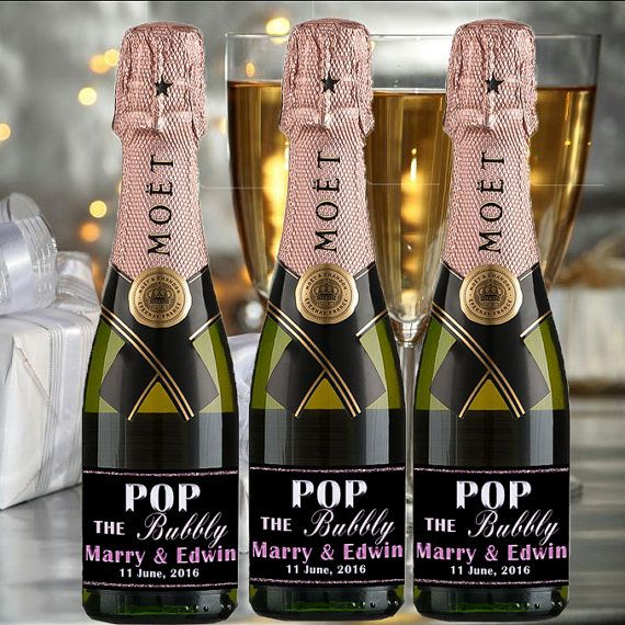 Check out this item in my Etsy shop https://www.etsy.com/listing/276358704/custom-mini-champagne-label-engaged