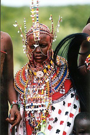 A Maasai bride in traditional dress.