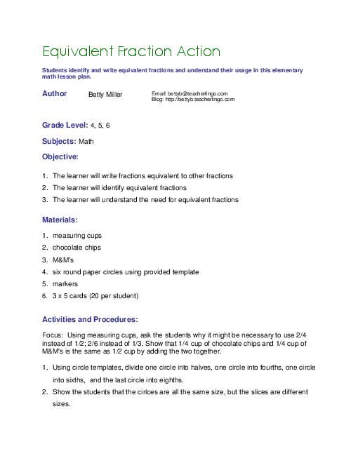 lesson plan format for math fractions Mathematics lesson plan for 3rd, 4th, and 5th grade  title of the lesson: fractions  english translation of the japanese mathematics textbook series for the .
