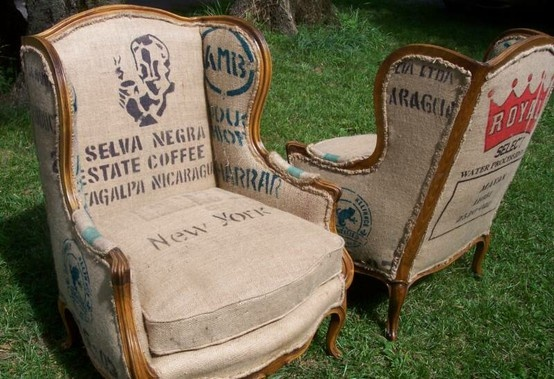Now if I could find coffee sacks to cover some flea market chairs....will look really cool in the basement when we get it finished