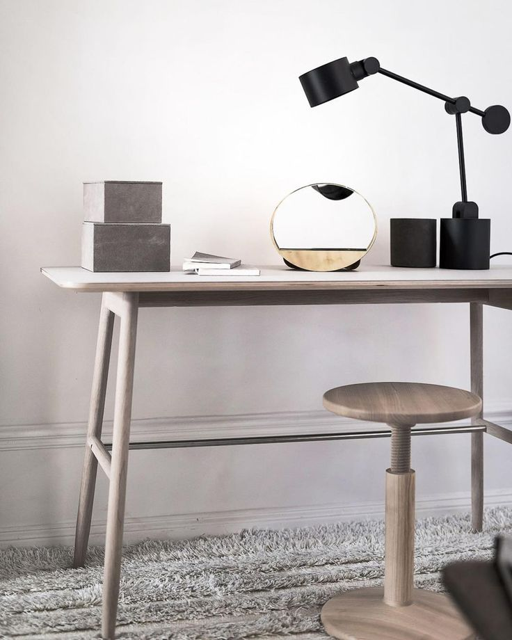 Massproductions - Icha Desk in White Oiled Oak. Scandinavian furniture in a modernist spirit.