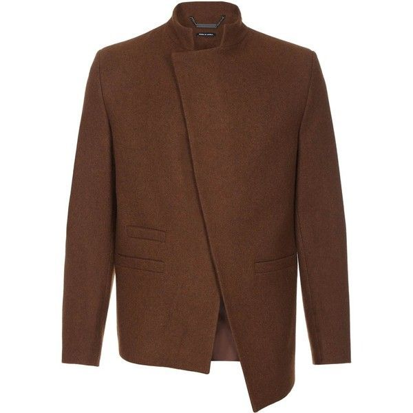 He & DeFeber - Brown Asymmetrical Front Wool Jacket (10.241.365 IDR) ❤ liked on Polyvore featuring men's fashion, men's clothing, men's outerwear, men's jackets, mens brown jacket, mens wool outerwear, mens mandarin collar jacket and mens wool jacket