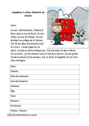 Lisez le texte et complétez la fiche d'identité de Charlie - Fiches FLE
