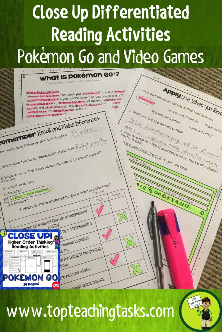 This Pokémon Go differentiated reading comprehension resource includes two Grade Four (Year Five) and Grade Five (Year Six) non-fiction informational passages with six engaging text dependent higher order thinking tasks - perfect for close reading! These print and go worksheets link directly to the CCSS and New Zealand Curriculum, Level Three. These come in both US and NZ spellings and paper size.