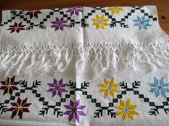 247. Hand embroidered vintage pure linen decor towel linen