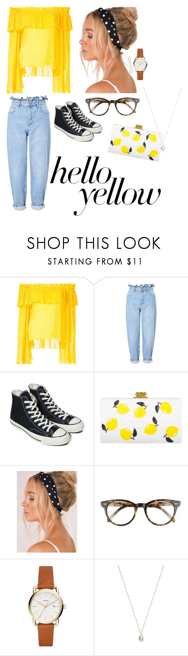 """""""Contest Entry - Pops of Yellow"""" by seasonalbliss on Polyvore featuring Alice McCall, Miss Selfridge, Converse, Edie Parker, Corinne McCormack, Eva Fehren, PopsOfYellow and NYFWYellow"""