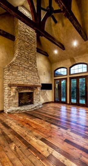 Beams & stone fireplace