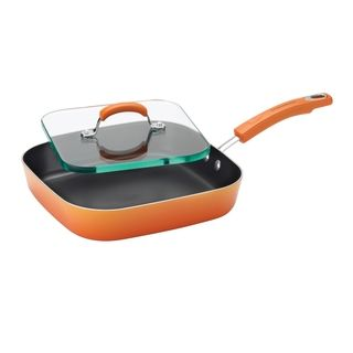 Rachael Ray Porcelain II Aluminum Non-stick 11-Inch Square Deep Griddle and Glass Press | Overstock™ Shopping - The Best Prices on Rachael Ray Grill Pans & Griddles