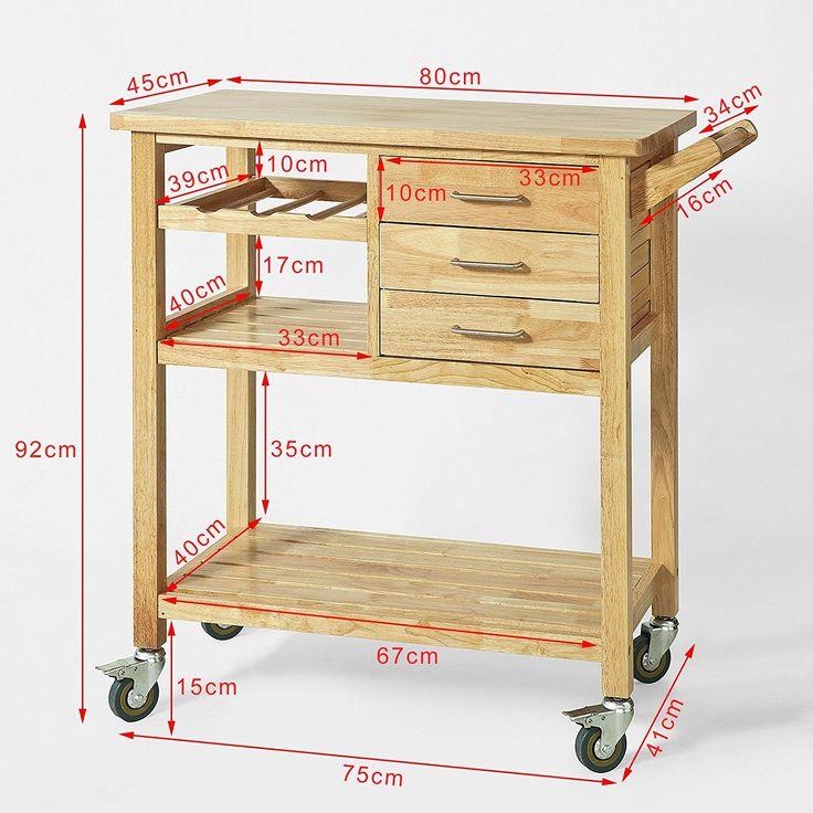 SoBuy® Carrello di servizio, mobile cucina ,credenza ingresso,legno di Hevea, FKW18-N,IT