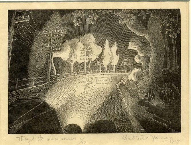 Gertrude Hermes (British, 1901-1983). Through the Windscreen. 1929. (wood engraving)