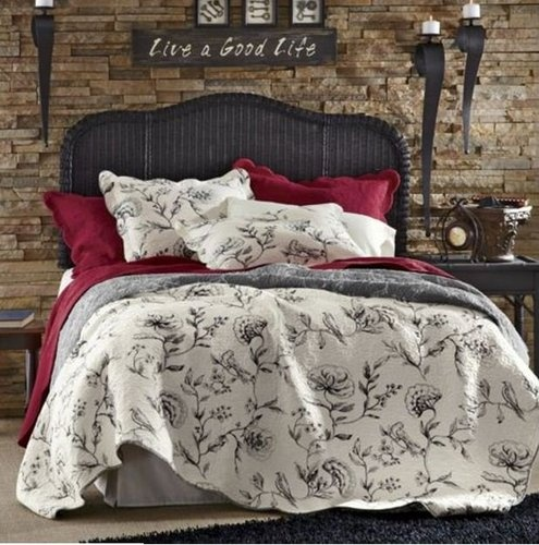 French Country Full Queen Quilt Set Parisian Black Toile Off White Comforter Ebay Products I