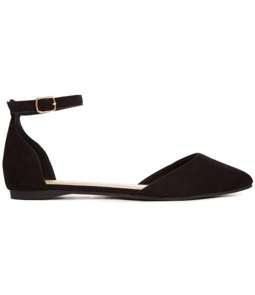 Kuzzle Black Two Strap Flat Shoes