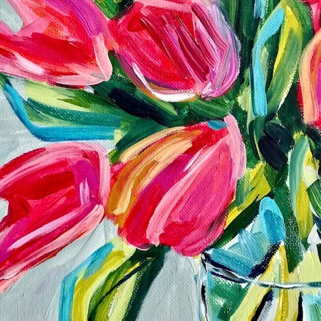 Flower Painting How To Paint Tulips With Acrylic Paint On Canvas