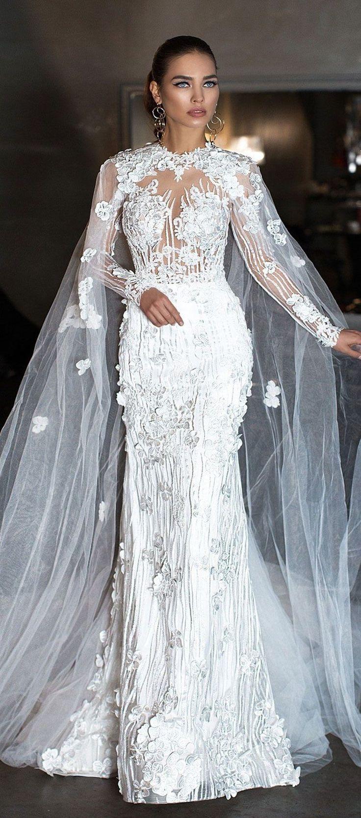 Fully embellishment tulle cape with sleeves fit and flare wedding dress #wedding #weddings #weddinggown #bridedress #weddingdress