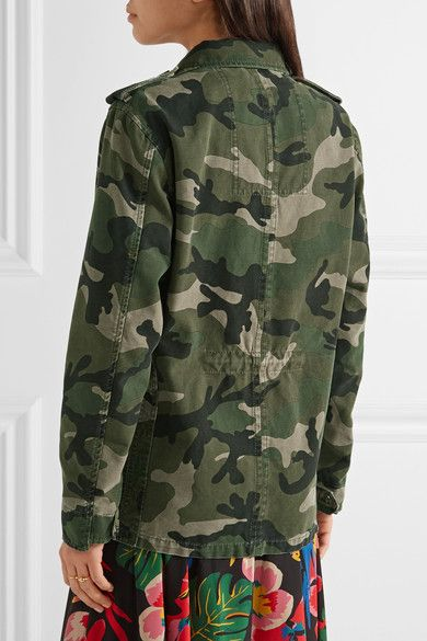 Valentino - Striped Camouflage-print Cotton-gabardine Jacket - Army green - IT