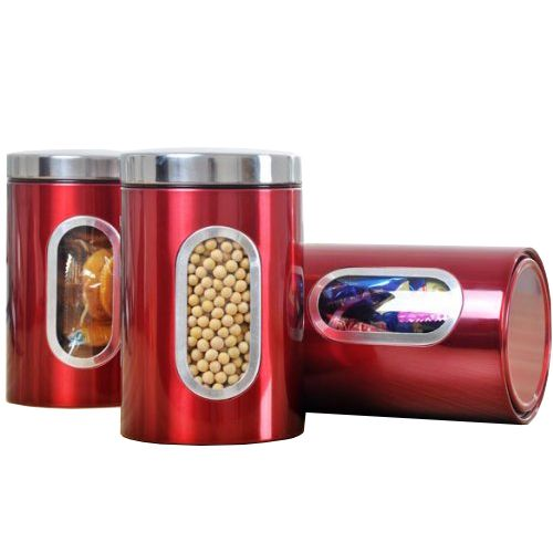 ==> [Free Shipping] Buy Best SZS Hot 3pcs Stainless Steel Window Canister Tea Coffee Sugar Nuts Jar Storage Set (Red) Online with LOWEST Price   32767313813