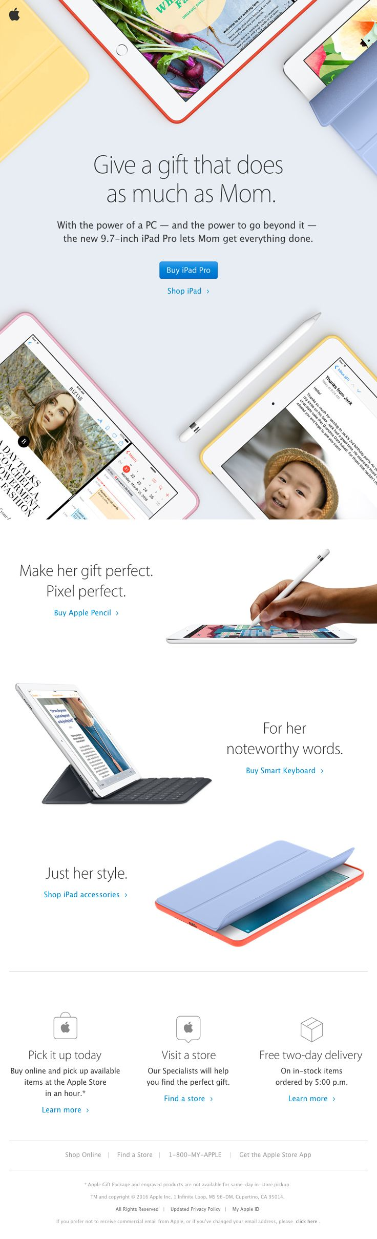 Apple sent this email with the subject line: The perfect gift. Just in time for Mother's Day - Read about this email and find more promotion emails at ReallyGoodEmails.com #ecommerce #holiday #promotion