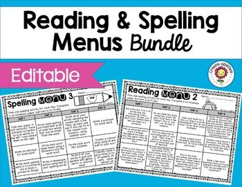 Reading Menus and Spelling Menus Bundle - Your 1st, 2nd, 3rd, 4th, and 5th grade classroom or homeschool students will love this 300+ page resource! You'll get an alternate to standard reading logs to use as homework. Your spelling scores will go up as students use these menus for homework or in centers. Click through for more details! {first, second, third, fourth, fifth grader} $
