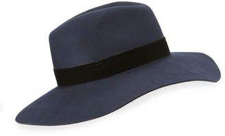 Neiman Marcus Wool-Felt Velvet Band Fedora  hat  womens  344aab68235e