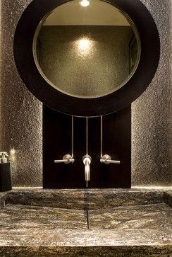 Powder Room Sink & Mirror rustic bathroom