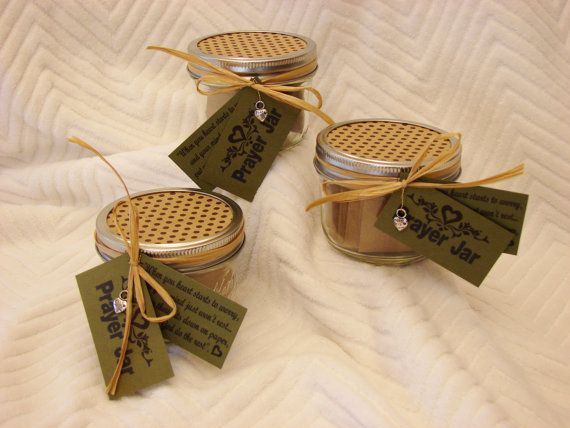 $8.00 This prayer jar is cute and timeless.  A small ½ pint mason jar will fit into any home décor or office desk top.   The prayer jar is a great gift for you or for anyone who is petitioning God for comfort or healing. Comes with blank brown paper squares ready for you to write your prayer.