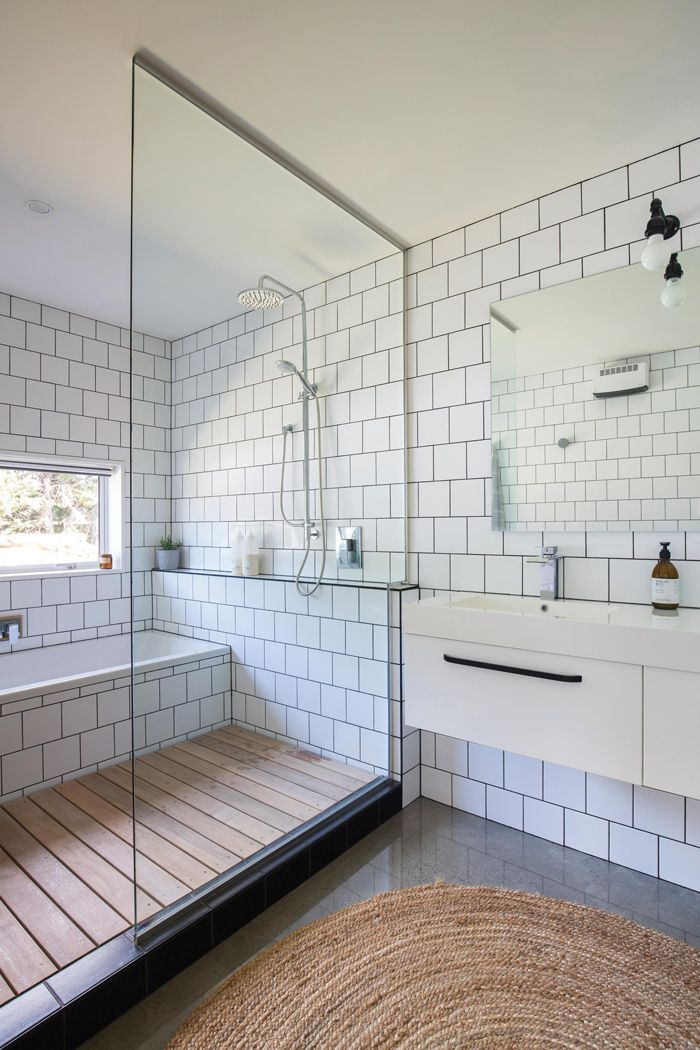 The open concept makes it feel large and spacious  wood slat floor adds a feeling of showering in the summer at lake square subway tile is Best 25 Bath shower ideas on Pinterest Shower bath combo