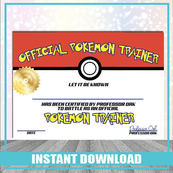 Pokemon Trainer Certificate Instant Download Printable Nintendo Party Pokemon Birthday And