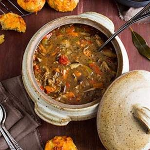A bit reminiscent of old-fashioned mushroom-barley soup, this vegetarian quinoa mushroom soup recipe gets a modern update with nutrient-packed quinoa.