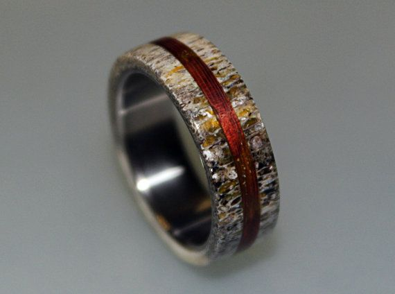Titanium Ring Mens Titanium Wedding Band Deer by ringordering