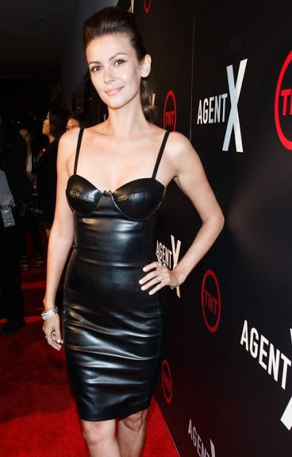 Celebrities In Leather Olga Fonda Wears A Short Black Leather Dress Celebrities In Leather