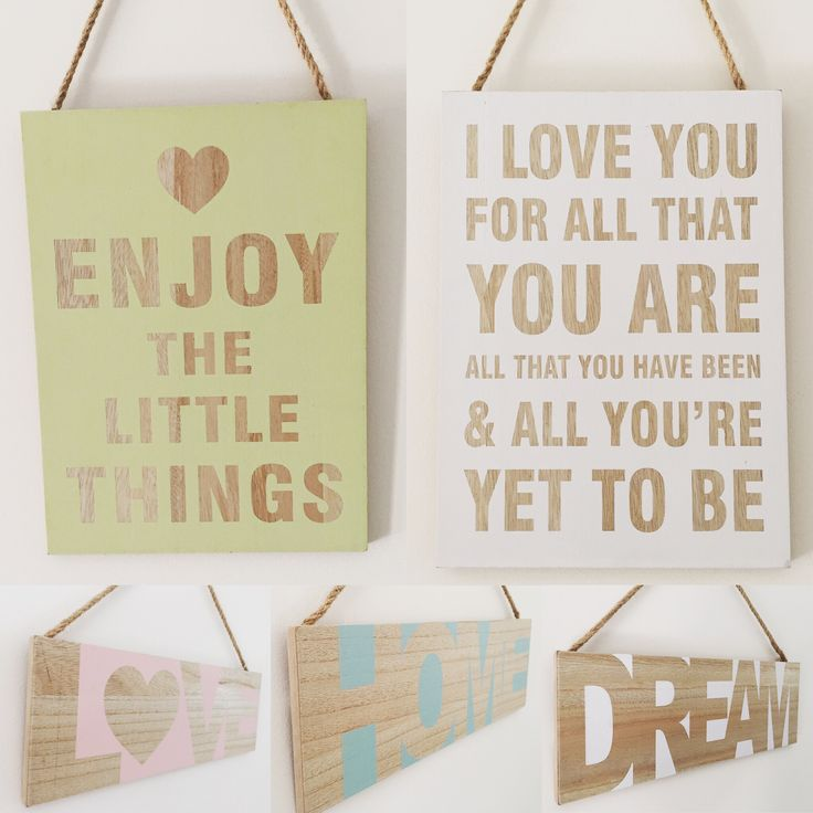 Signs - love, dream, home, enjoy the little things and I love you. From $14.95