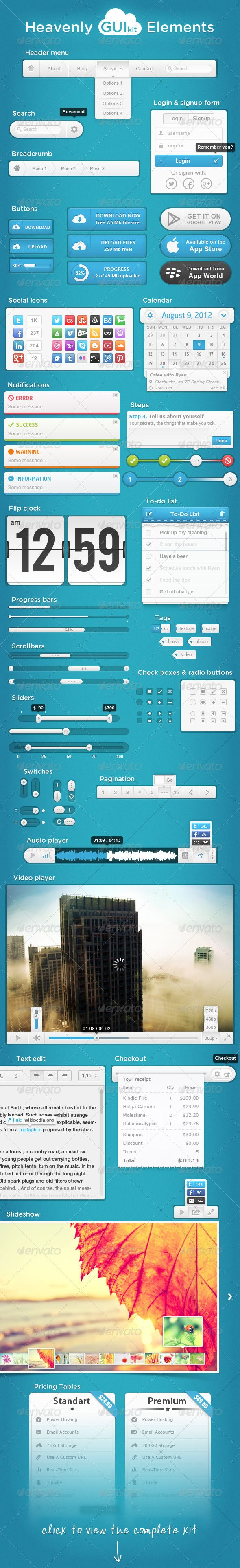 Heavenly GUI Kit Elements - GraphicRiver Item for Sale