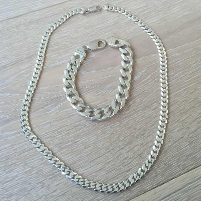 Breez - Italian Genuine Silver Men'sNecklace And Bracelet