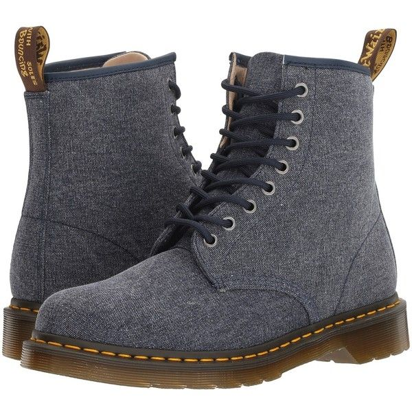Dr. Martens 1460 (Indigo Washed Canvas) Men's Boots ($125) ❤ liked on Polyvore featuring men's fashion, men's shoes, men's boots, dr martens mens shoes, mens canvas boots, dr martens mens boots, mens canvas shoes and mens shoes