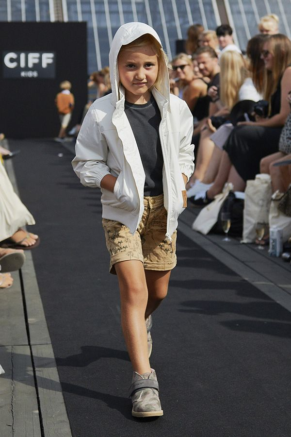 Jacket and shorts by Mini Rodini, T-shirt by You at CIFF Kids fashion show for spring 2015