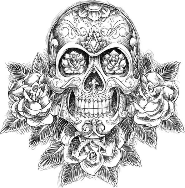 Rose Flowers And Mexican Skull Tattoo Design