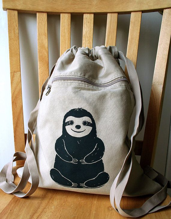 Sloth Backpack Canvas Screen Printed by catbirdcreatures on Etsy, $20.00