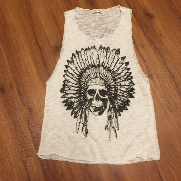 Indian Headdress Skull Tank No holes. No rips. No stains. Oversized arms. See thru knit. Black print. Tops Tank Tops