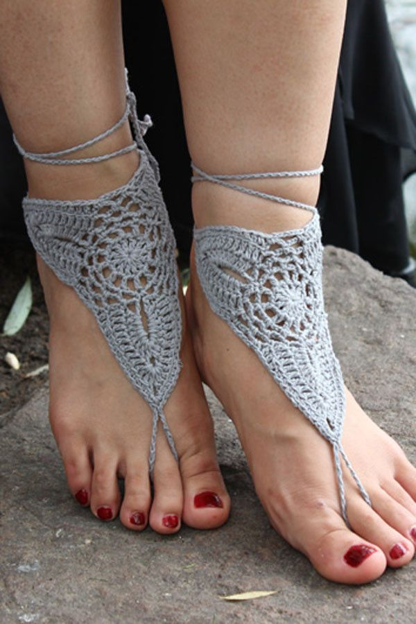 Triangle Crochet White Barefoot Sandals, Nude shoes, Foot jewelry, Wedding, Victorian Lace, Sexy, Yoga, Anklet , Bellydance, Steampunk, Beach Pool