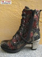 """Talida"" black red/gold/punched - The Store, Westernstiefel, Bikerboots, Cowboyboots, New Rock Boots, Leder / Biker / Gothic Shop"