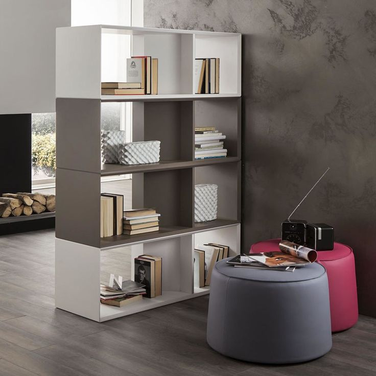 Furniture Modern Contemporary Gray And White Wooden Bookshelf Room Divider As Multifunction Storage As Well