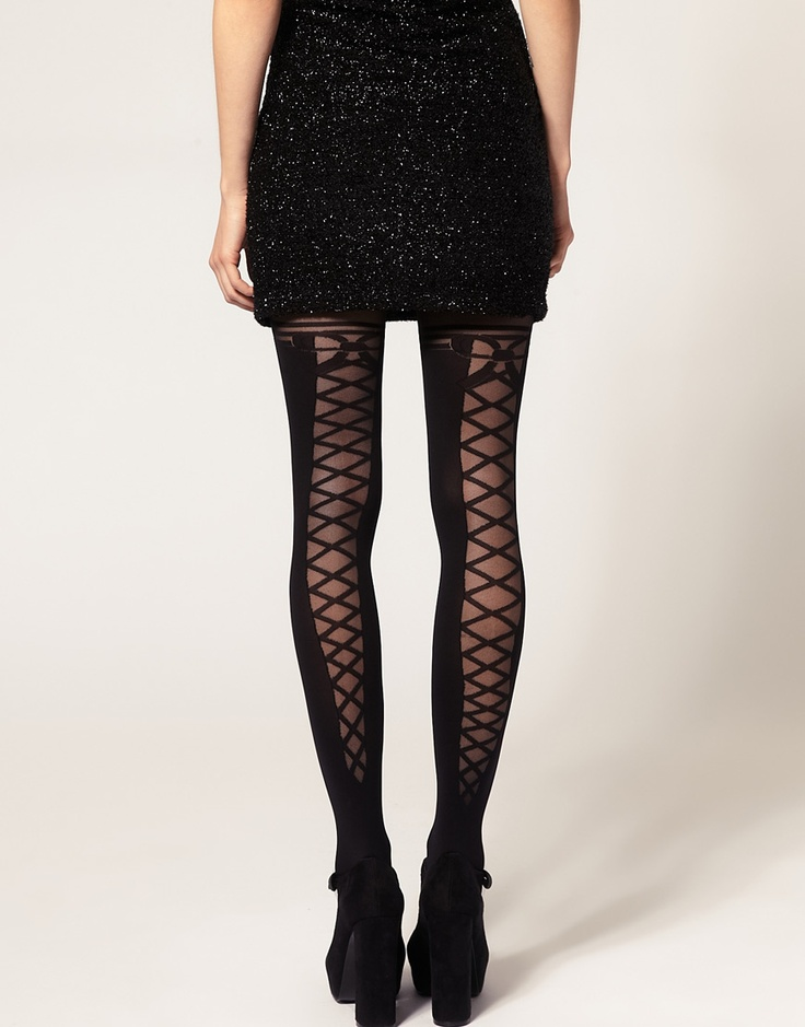 ASOS Lace Up Back & Bow Tights
